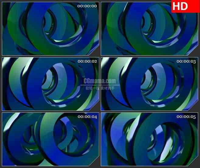 BG4182蓝绿色金属三维圆环叠加交错旋转动态背景led大屏背景高清视频素材