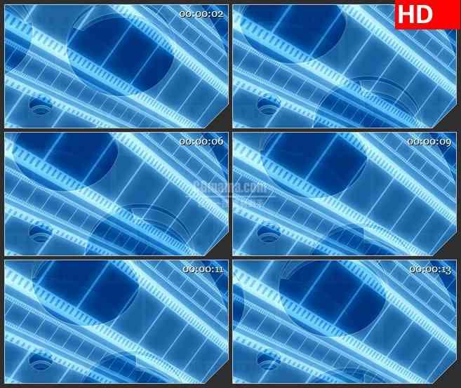 BG4184蓝色半透明电影胶片交错滚动led大屏背景高清视频素材