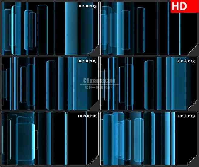 bg4185蓝色半透明光束长方体旋转黑色背景带透明通道led大屏背景高清