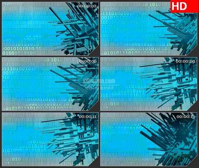 BG4194蓝色锋利的二进制数字格林动态背景led大屏背景高清视频素材