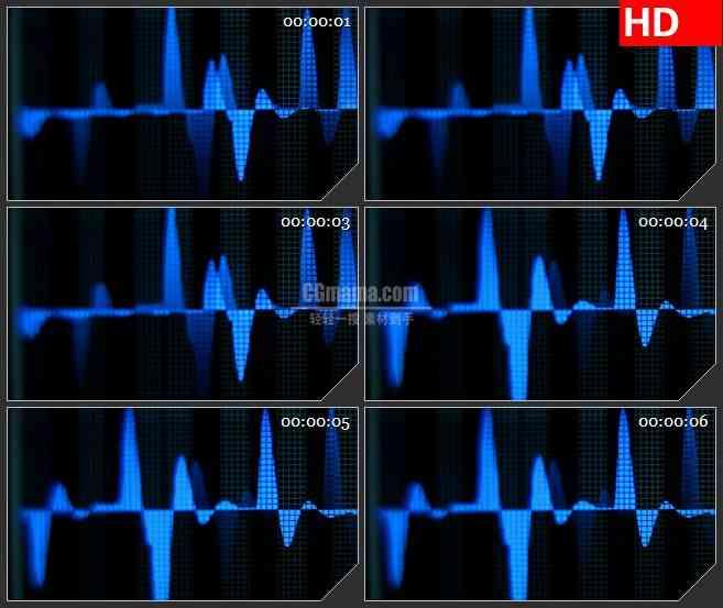 bg4196蓝色光波上下浮动黑色背景led大屏背景高清视频素材