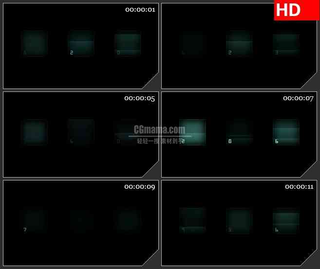 BG4216蓝色柱状图屏幕数字跳动黑色背景带透明通道led大屏背景高清视频素材