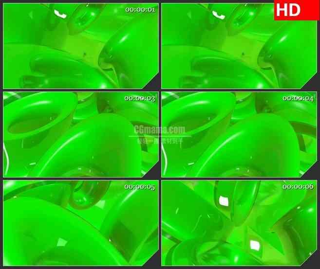 BG4231绿色三维光滑圆环旋转led大屏背景高清视频素材