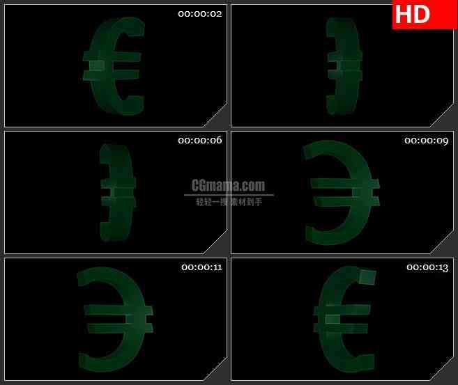 BG4232绿色三维欧元符号旋转黑色背景带透明通道led大屏背景高清视频素材