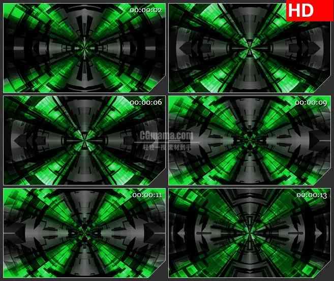 BG4233绿色十字科技光影穿梭时空穿越led大屏背景高清视频素材