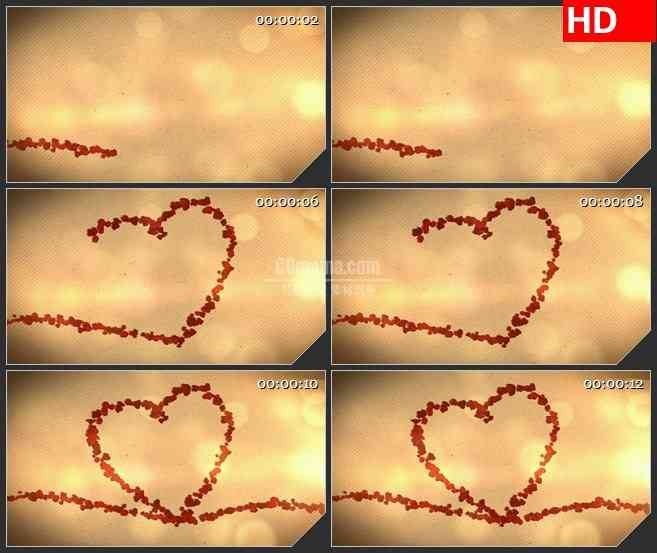 BG4239玫瑰花瓣生长动画心形浪漫爱情婚礼复古黄色斜条纹背景led大屏背景高清视频素材