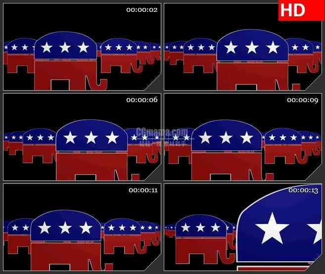 BG4242美国共和党大象标志队伍led大屏背景高清视频素材