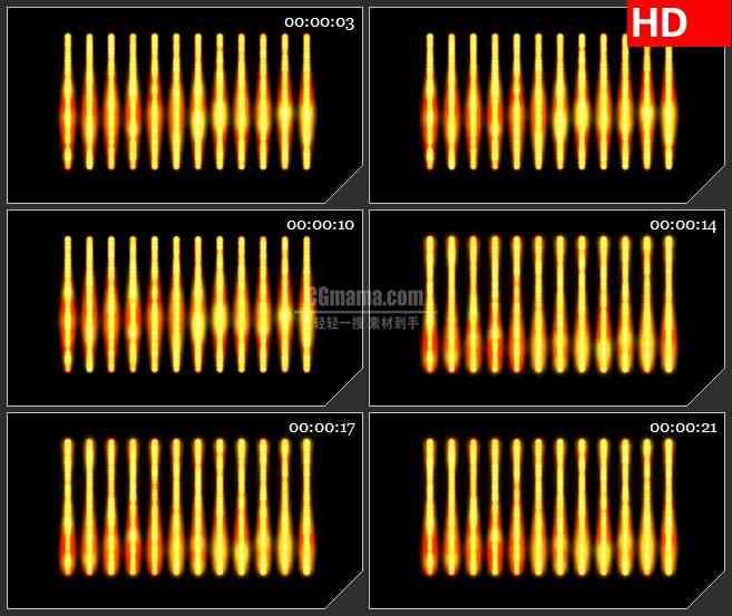 BG4248排列橙黄色火红色发光条黑色背景带透明通道led大屏背景高清视频素材