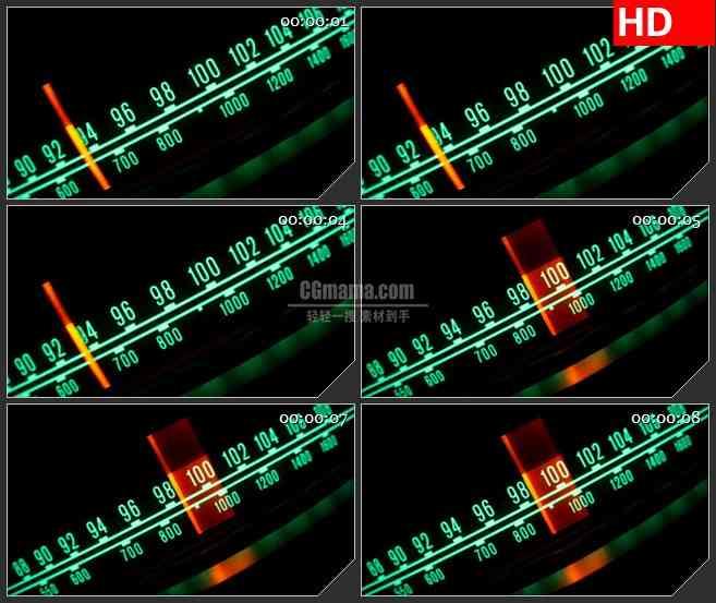 BG4255倾斜的收音机频率器红色指针拨动led大屏背景高清视频素材