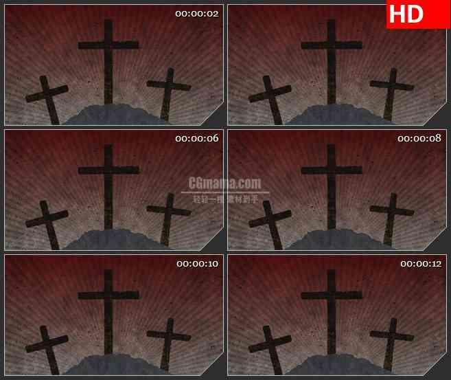 BG4256三个十字架剪影动态背景led大屏背景高清视频素材
