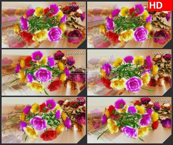BG4263三维红色黄色紫色玫瑰花束金色背景led大屏背景高清视频素材