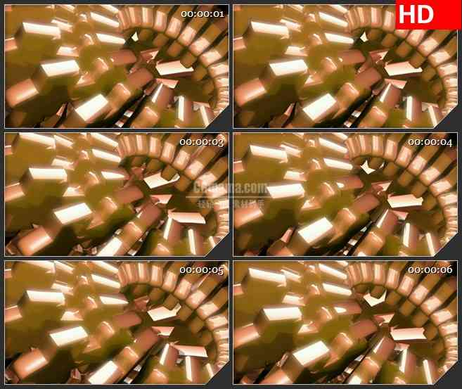 BG4268三维立体金色棕色块旋转led大屏背景高清视频素材
