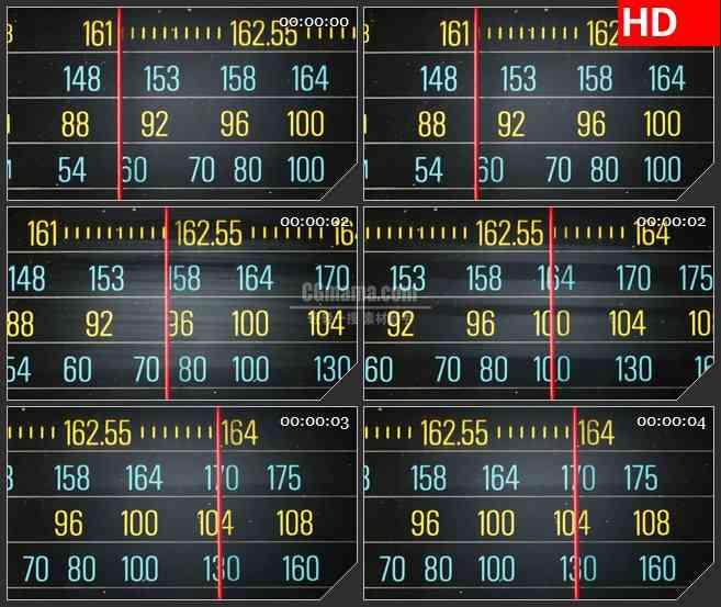 BG4280扫描警察广播电台红色指针滑动特写led大屏背景高清视频素材