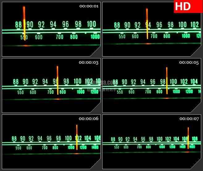 BG4282扫描收音机的刻度盘绿色数字红色指针led大屏背景高清视频素材