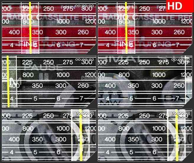 BG4286扫描仪数字黄色指针移动特写led大屏背景高清视频素材