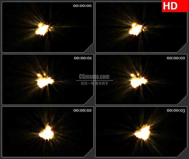 BG4290闪耀的橙红色火光黑色背景led大屏背景高清视频素材