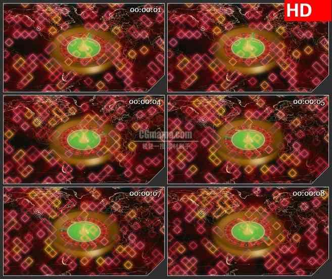 BG4302时间赌盘旋转橙色世界版图led大屏背景高清视频素材
