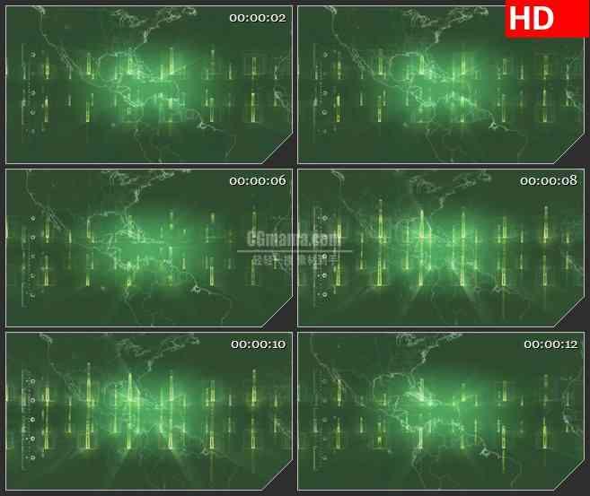 BG4314卫星视图绿色美洲版图跳动光条led大屏背景高清视频素材