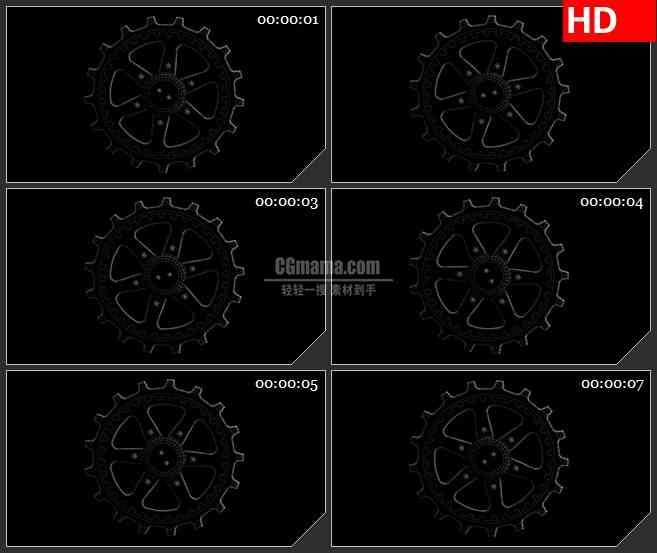 BG4320线框齿轮旋转黑色背景带透明通道led大屏背景高清视频素材