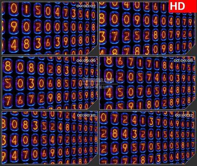 BG4321线圈红色灯丝数字变换排列led大屏背景高清视频素材