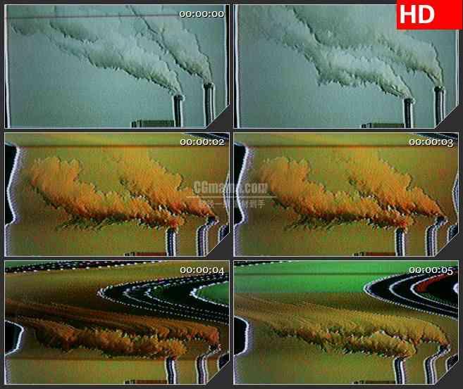 BG4327信号干扰工厂烟筒冒烟led大屏背景高清视频素材