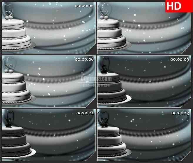 BG4330旋转白色三维蛋糕浪漫背景led大屏背景高清视频素材