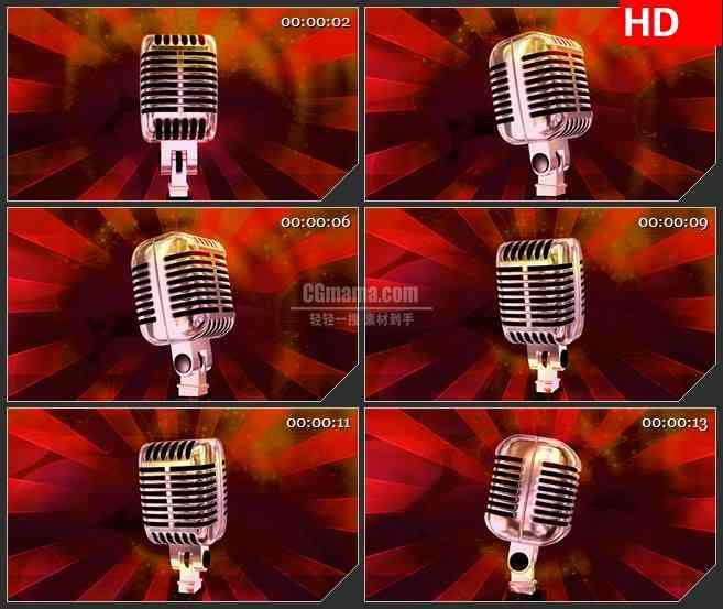 BG4345旋转的老式麦克风红色光芒波点背景led大屏背景高清视频素材