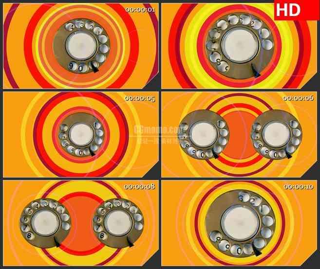 BG4353旋转复古手机拨号键红色黄色圆环led大屏背景高清视频素材