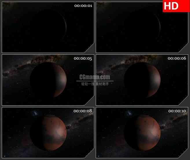 BG4366旋转火星星空宇宙黑色背景led大屏背景高清视频素材