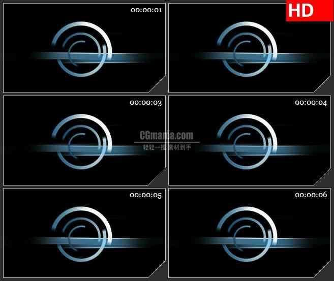 BG4369旋转渐变蓝色半圆环黑色背景带透明通道led大屏背景高清视频素材