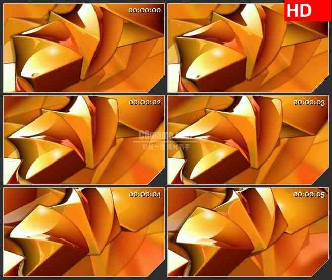 BG4392旋转扭曲橙色半透明矩形led大屏背景高清视频素材