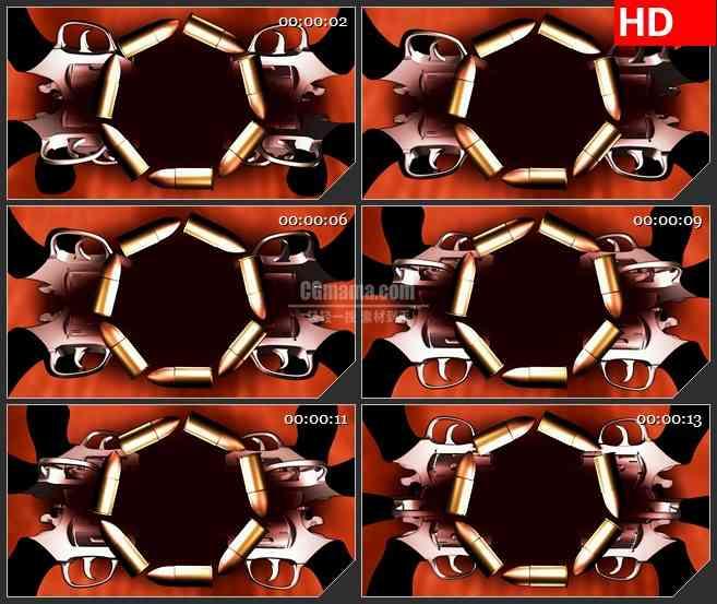 BG4393旋转枪支和子弹红色背景三维动画led大屏背景高清视频素材