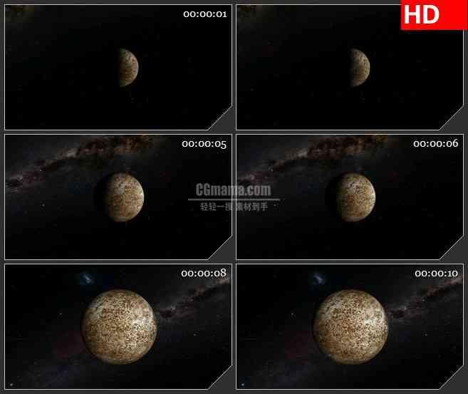 BG4397旋转水星宇宙星空黑色背景led大屏背景高清视频素材