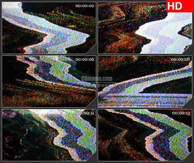 BG4415移动电视信号干扰VCR波浪燥波雪花点led大屏背景高清视频素材