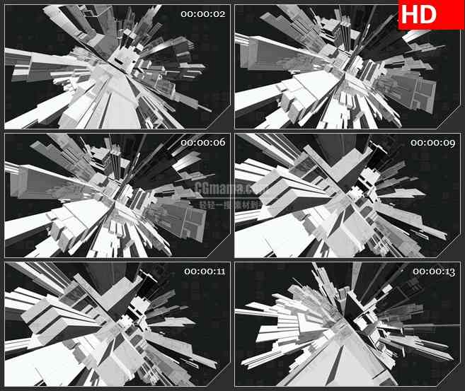 BG4430摘要灰度立体球旋转带透明通道led大屏背景高清视频素材