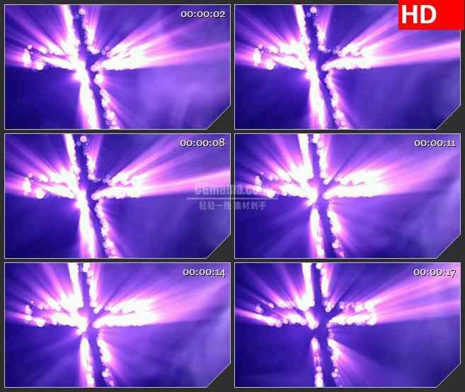 BG4455紫色圆光斑十字架led大屏背景高清视频素材