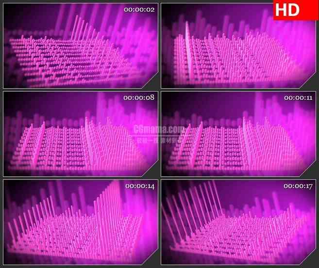 BG4456紫色音频可视化三维立体旋转led大屏背景高清视频素材