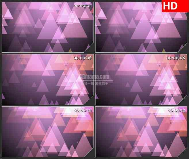 BG4461紫色三角半透明叠加下落led大屏背景高清视频素材