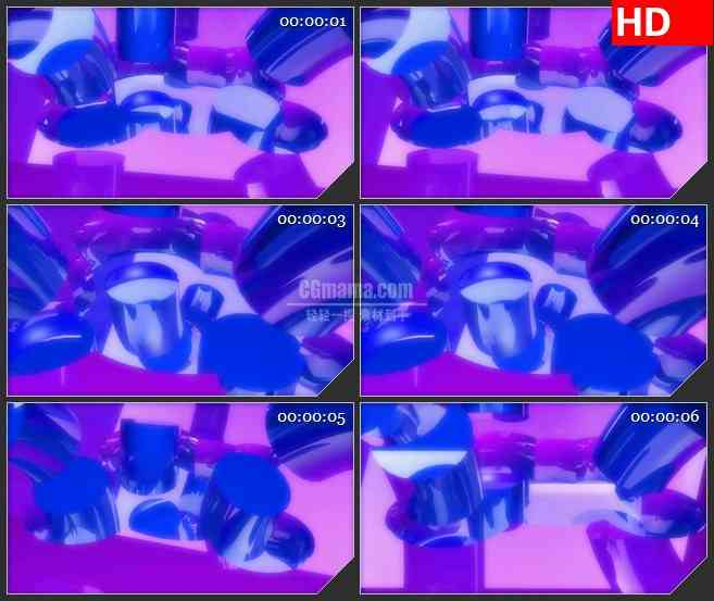 BG4466紫色蓝色三维水晶弯曲管旋转动态背景led大屏背景高清视频素材