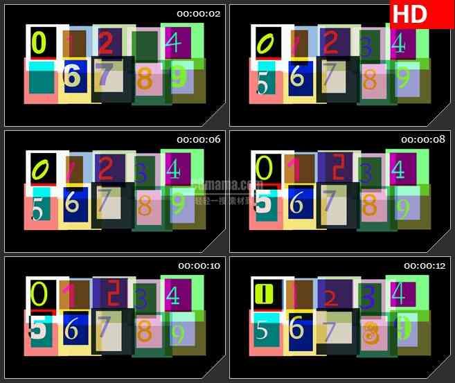 BG4472PS图象处理软件彩色数字0-9变换黑色背景led大屏背景高清视频素材