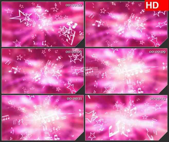 BG4485白色亮光五角星音符旋转粉色背景led大屏背景高清视频素材