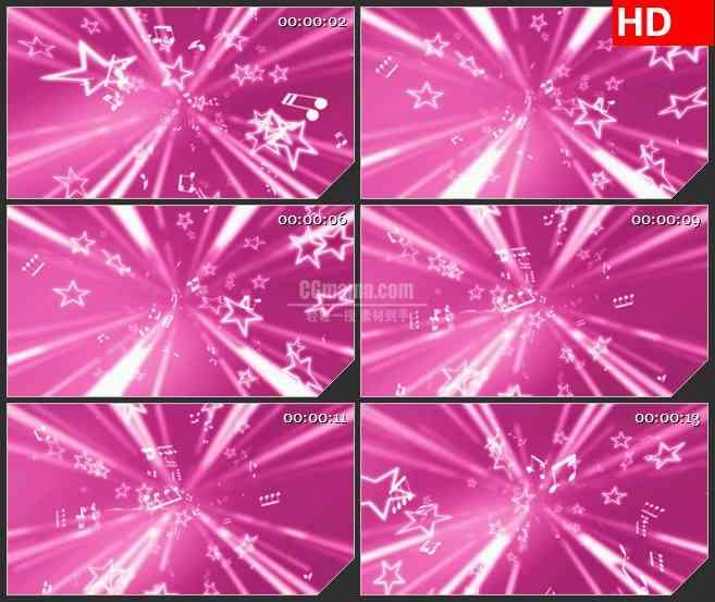 BG4488白色星星和音乐音符粉色背景led大屏背景高清视频素材