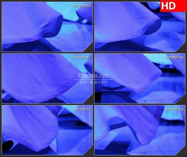 BG4494波斯舞蹈白色裙摆蓝色灯光旋转特写led大屏背景高清视频素材