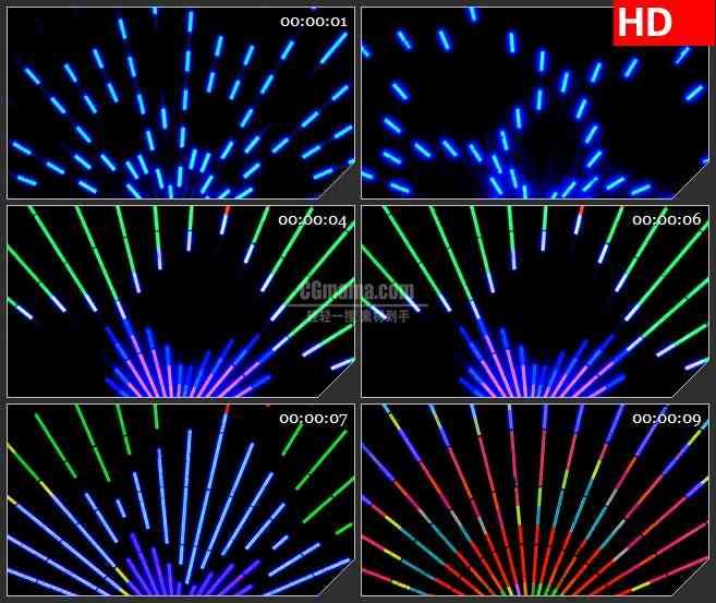 BG4497彩虹放射变换LED霓虹灯光黑色背景led大屏背景高清视频素材
