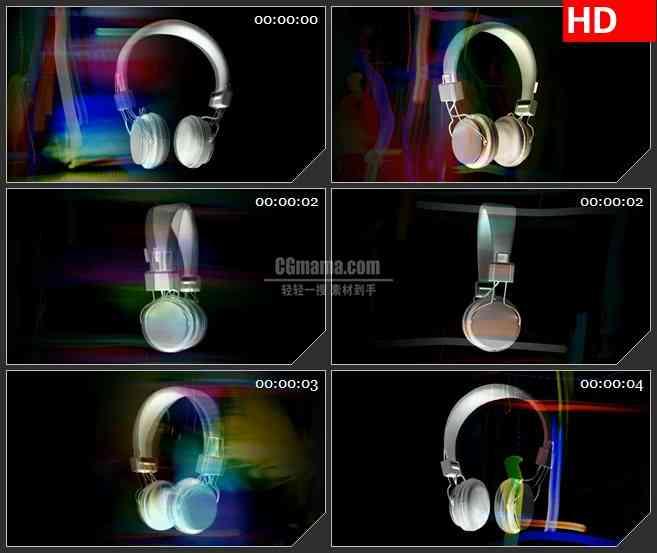BG4498彩虹流旋转三维耳机旋转led大屏背景高清视频素材