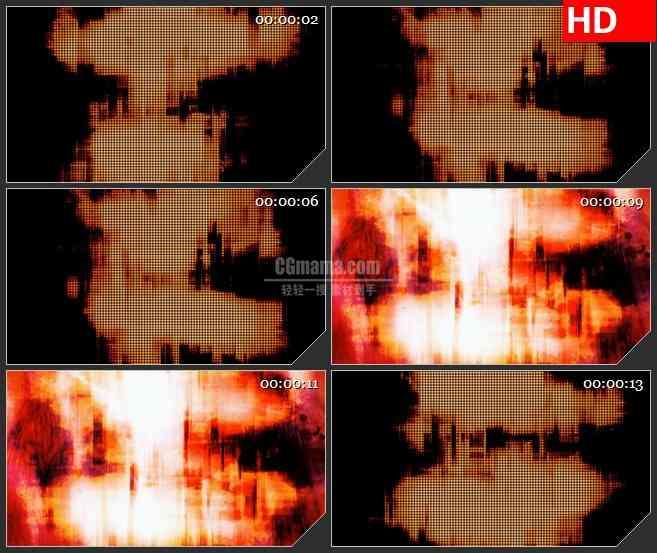 BG4509橙红色像素衰减火焰纹理闪光led大屏背景高清视频素材
