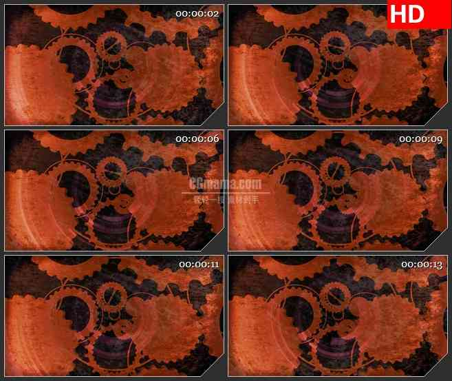 BG4512橙色齿轮交叉旋转动态背景led大屏背景高清视频素材