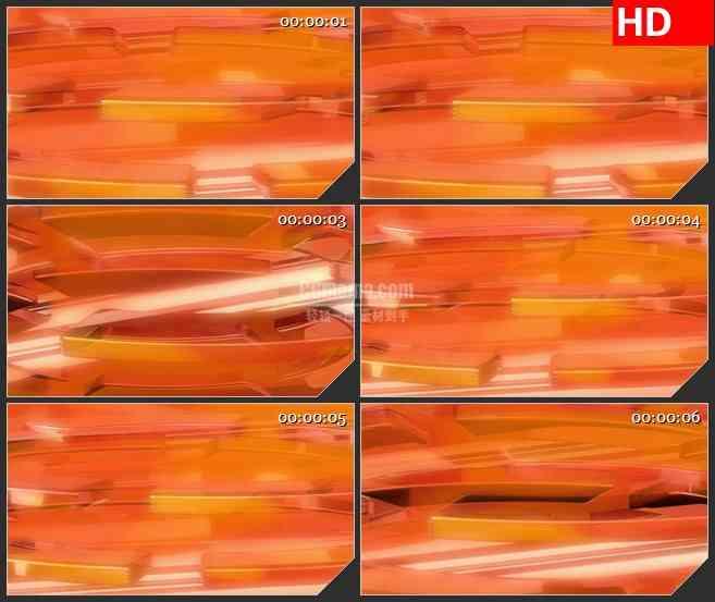 BG4515橙色三维立体半圆交错叠加旋转led大屏背景高清视频素材