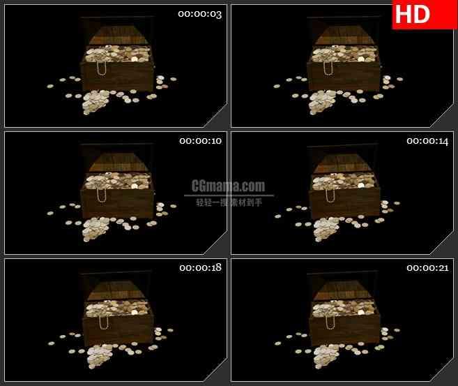BG4522盗宝箱金币珠宝黑色背景自带透明通道led大屏背景高清视频素材