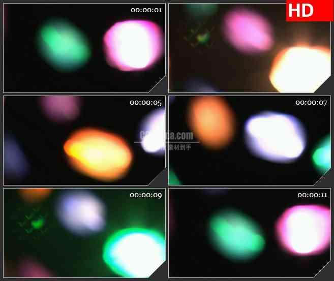 BG4527多彩大光斑旋转跳动黑色背景led大屏背景高清视频素材